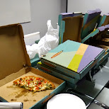 pizza party at climax media in Toronto, Ontario, Canada