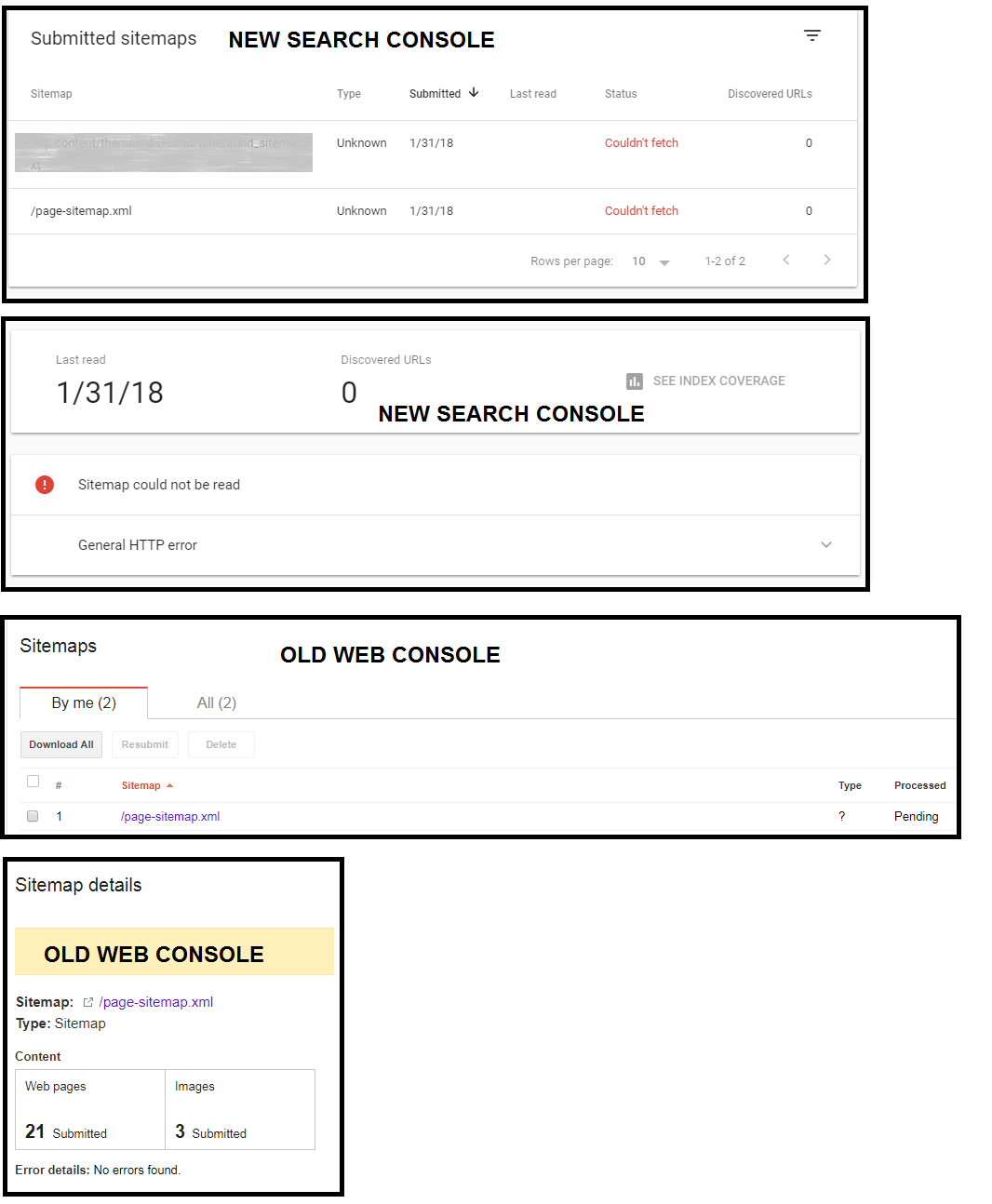 submitting sitemaps new google search console vs old web console