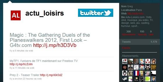 Suivez Actu-Loisirs sur Twitter !