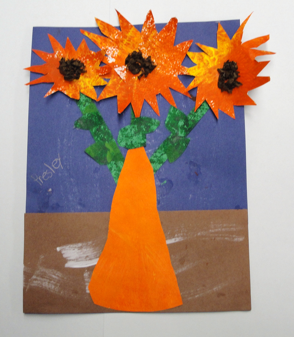 1st grade vincent van gogh inspired sunflowers mrs hoods art room the first grade students learn about the artist vincent van gogh we painted some papers using textures tools for our vases sunflowers leaves and stems reviewsmspy