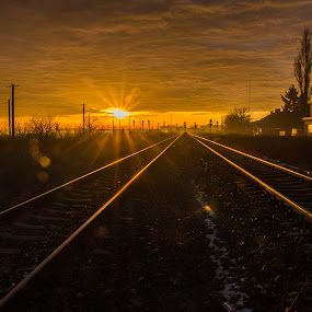 Sunrise by Nitescu Gabriel - Landscapes Travel ( clouds, europe, sunrises, fog, beautiful, romania, transportation, sunrise, landscapes, landscape, sun,  )