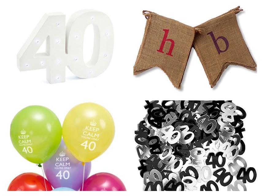 Decoración fiesta 40 cumpleaños: Globos, confeti, guirnalda, luces led