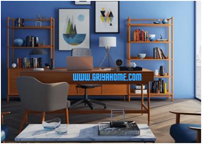Perpaduan Furniture Coklat dan Biru Muda