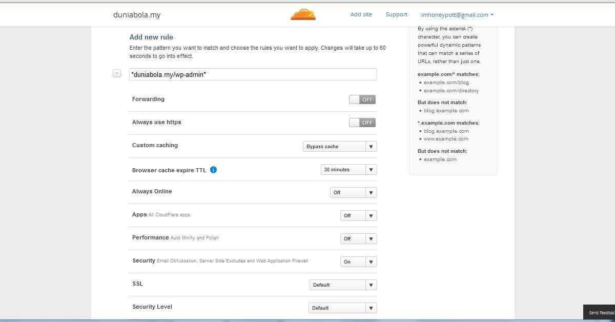 Cloudflare Page Rules WordPress Admin