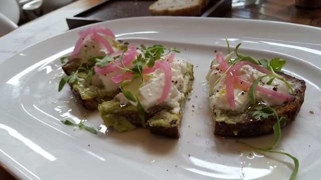 the toast with burrata, avocado, pickled red onion, and salsa verde at Guild House, Columbus, Ohio - part of one of my favorite meals this year!