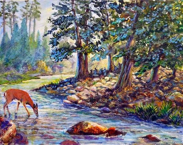 """""""Deer in the Stream"""" by Ken Farris. 22x28. Acrylic. $400.00"""