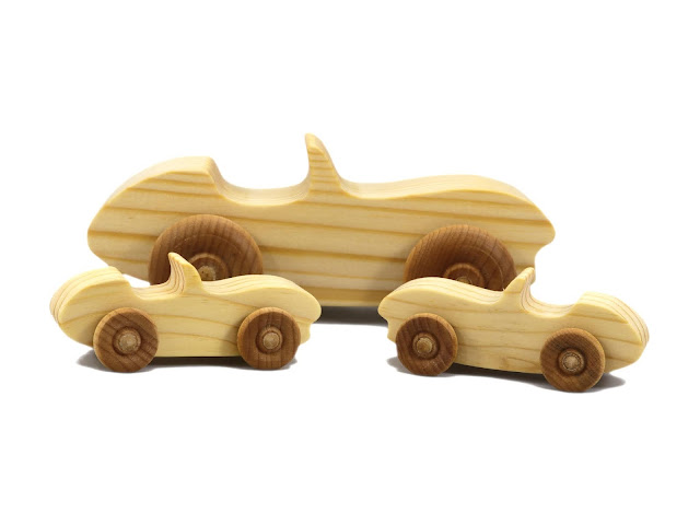 Handmade Wooden Toy Car Convertible Sports Coupe Snazzy Ripsnorter With Pocket Size Versions