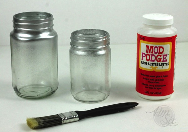 Silver glittered mod podged mason jars