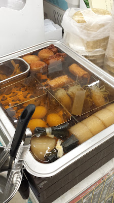 After passing these countless times in convenience stores, on our last day in Japan I finally decided to try it. This is Oden, a broth popular during the winter and then you pay by the piece for the extra ingredients you take