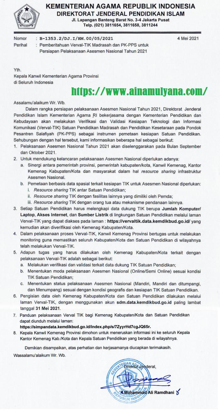 Surat Edaran dan Juknis Verval TIK Madrasah untuk persiapan Infrastruktur Pelaksanaan Asesmen Nasional (AN dan AKM) 2021