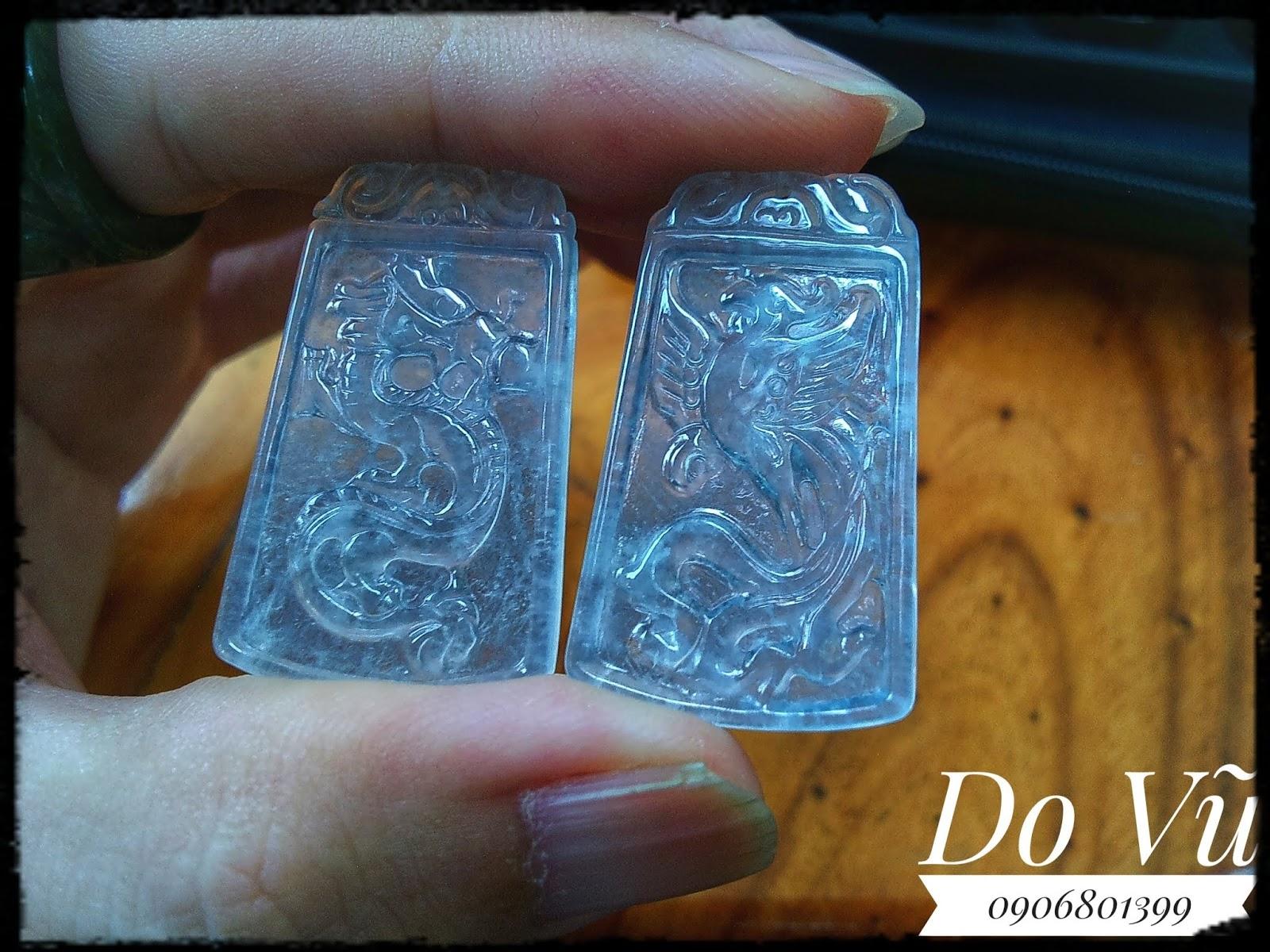 Mặt dây bạch ngọc Long Phụng chuẩn Natural Jadeite Jade type A (19/04/20, 01)