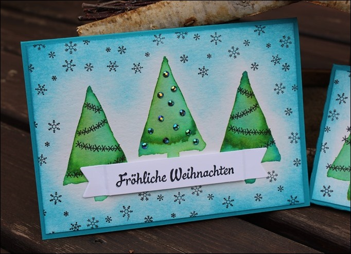 Adventskalender to go Stampin Up Christbaumfestival Watercolor Modern Christmas 01
