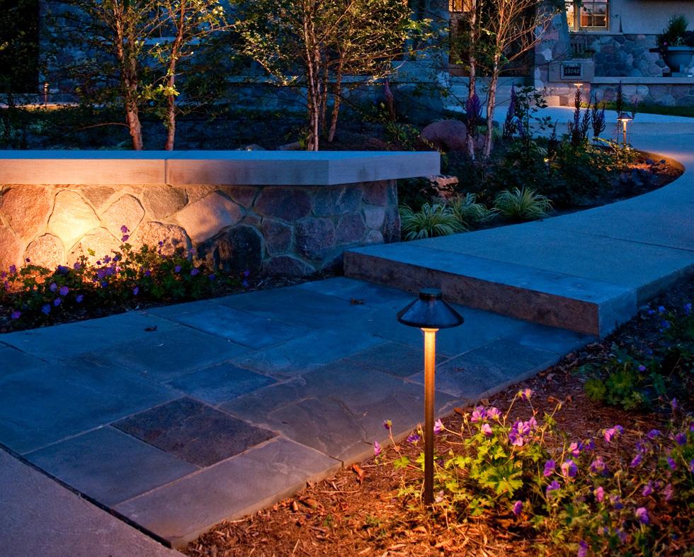LED pathway lighting next to stone steps