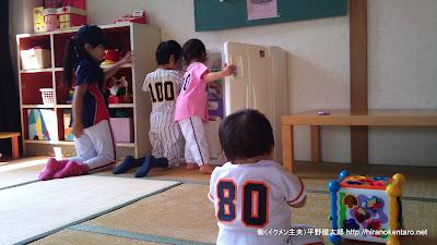 子供4人とも野球のユニフォーム