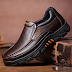 Men Genuine Cow Leather Waterproof Comfy Non Slip Soft Slip On Casual Oxfords Men's Shoes