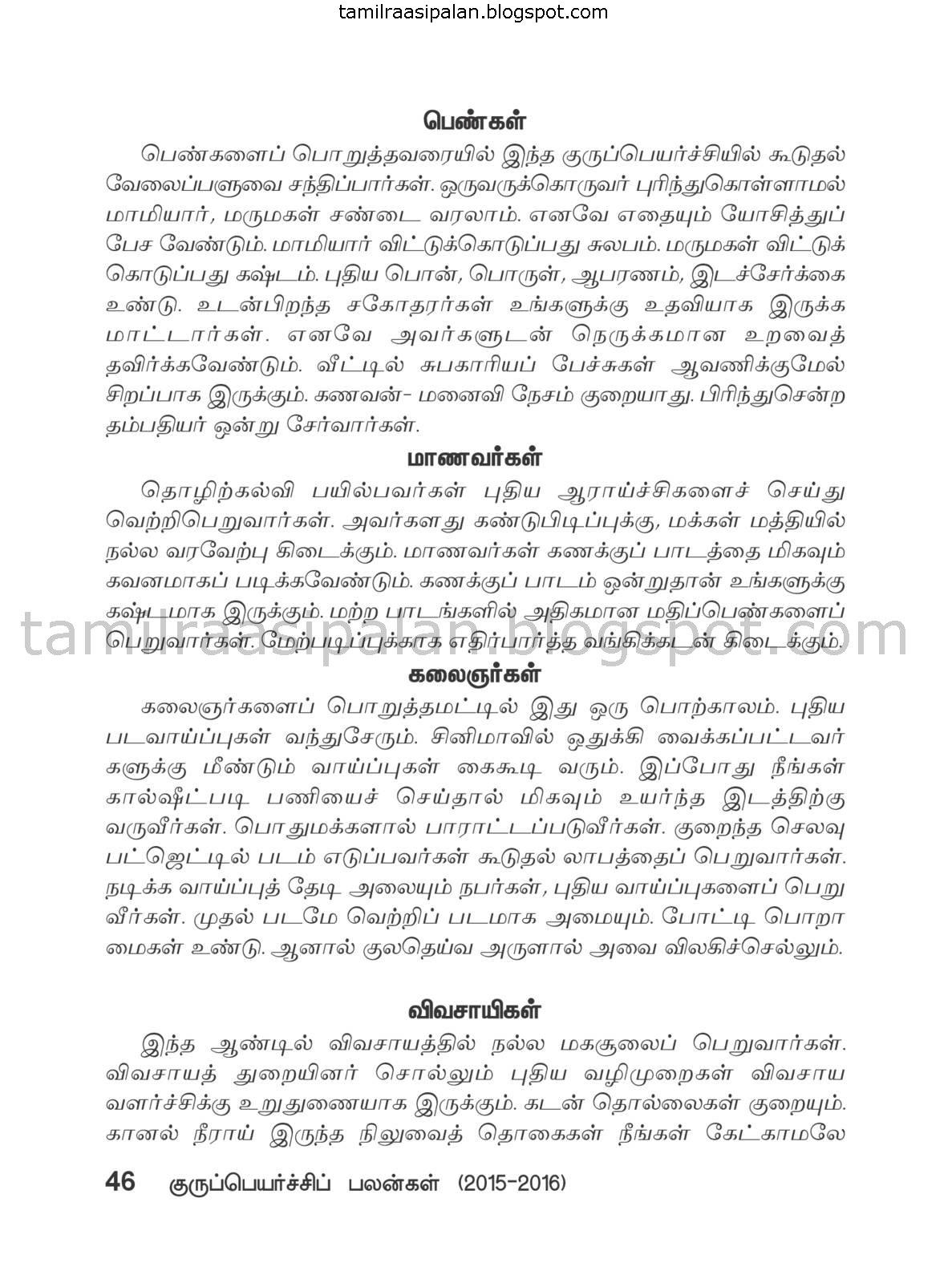 Kanni Guru Peyarchi Palan-2015-2016 Free Online