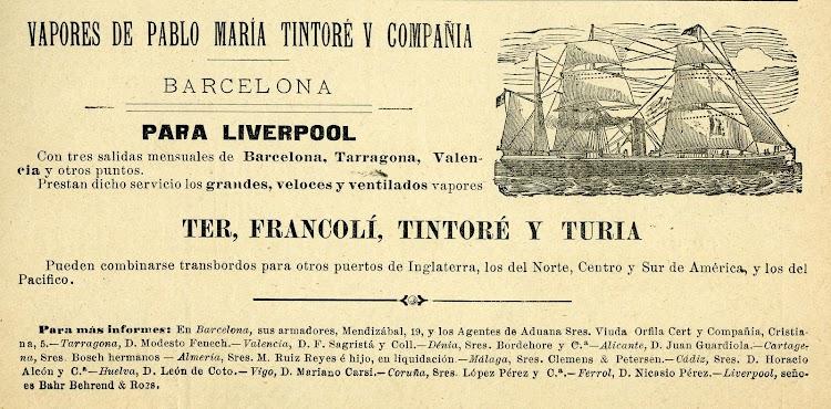 Anuncio de servicios de Linea de Vapores Tintoré. Revista de Navegación y Comercio. Año 1894.JPG