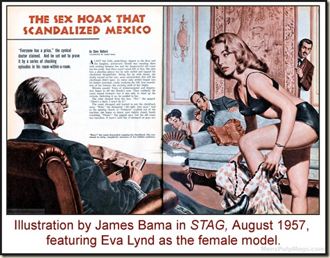 STAG, Aug 1957 - James Bama artwork, Eva Lynd model WM2