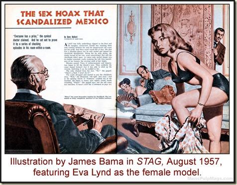 STAG, Aug 1957 - James Bama artwork, Eva Lynd model WM2