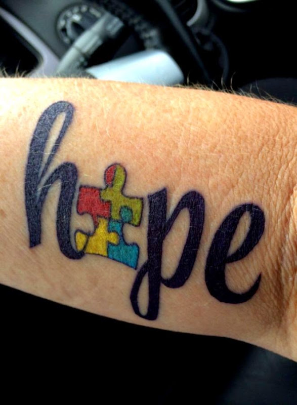 My first tattoo for Ink4Autism done by Kristen at Gawler Body Art
