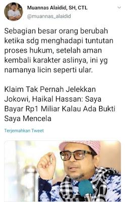 Tangkapan Layar Cuitan Muannas Alaidid. Haikal Hassan Klaim Tak Pernah Jelekkan Jokowi, Ini Kata Muannas Alaidid.