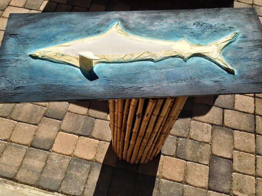shark drywall art sculpture