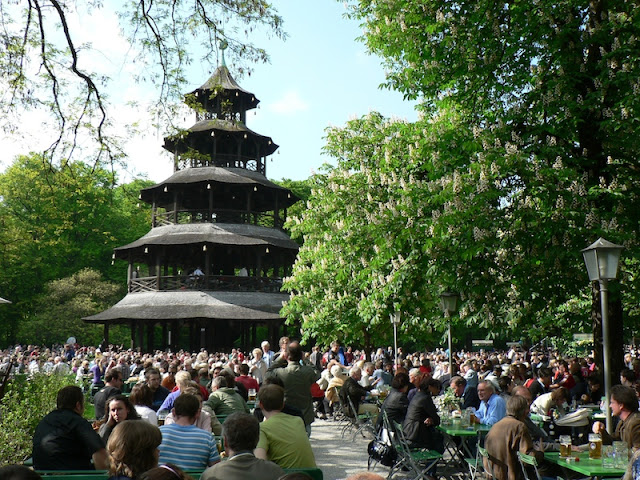 Chinese-style pagoda at a German beer garden