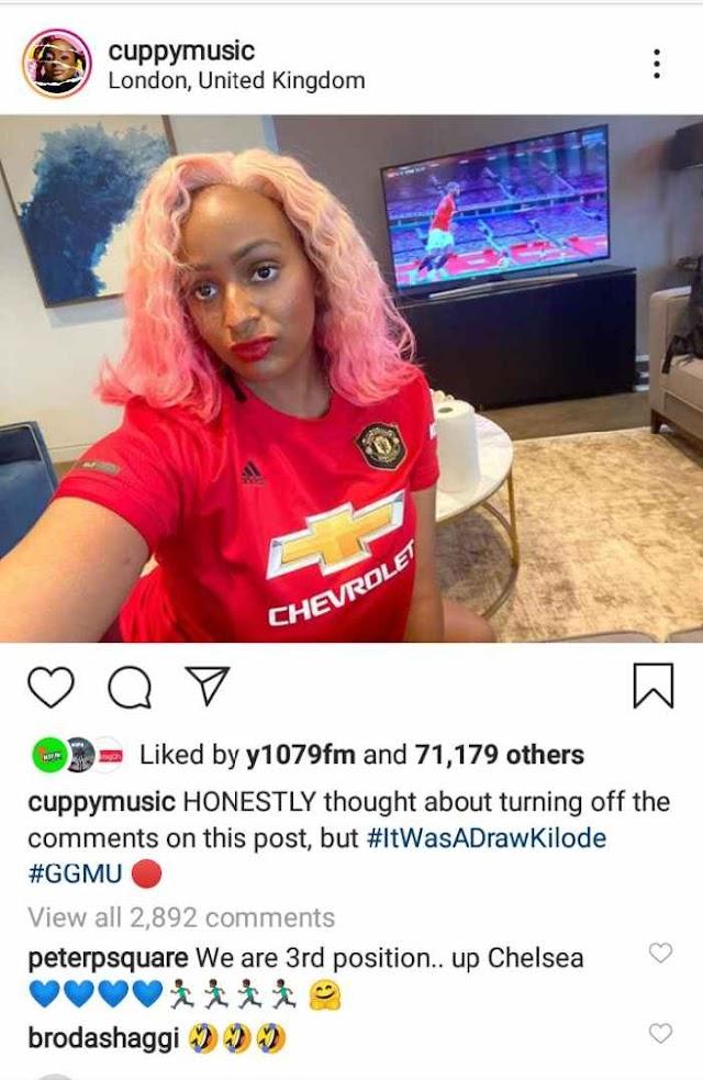 Mr. P Trolls DJ Cuppy After Manchester United Drew Their Game