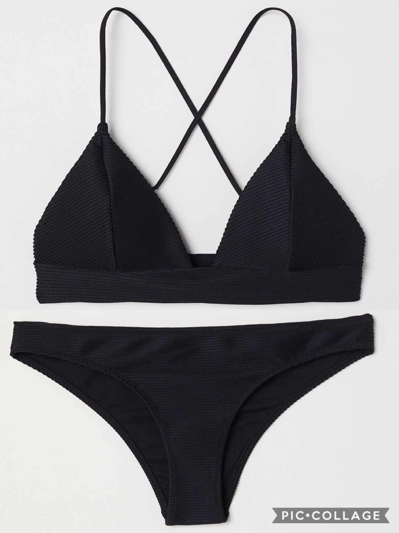 15f01c3a27ac9  1 H M black triangle bikini top (£12.99) + H M black bikini bottoms (£8.99)