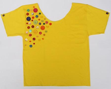 Inspiração: botões coloridos na camiseta