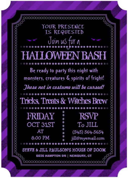 halloween purple invitation