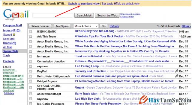 Giao diện HTML cơ bản của Gmail