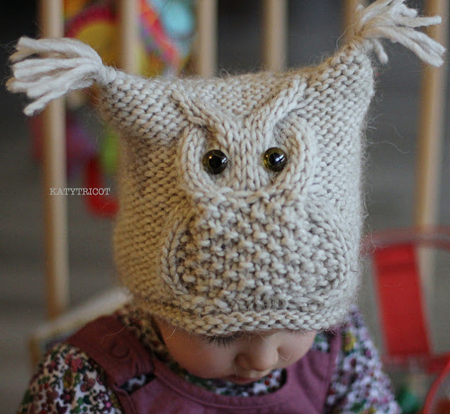 gorro búho punto owl hat knit