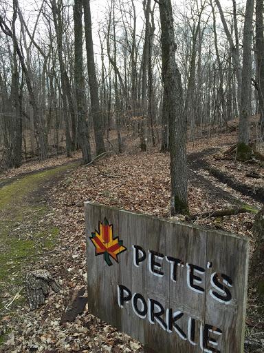 Pete's Porkie on Twin Lakes. Ski trail to the left mountain bike trail to the right!