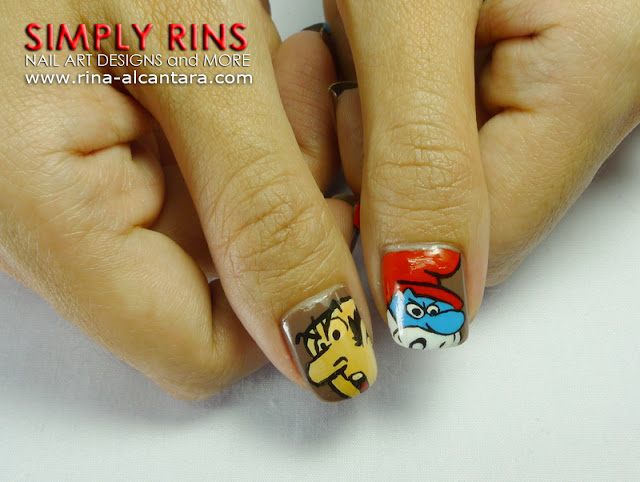 Smurfs Nail Art Design