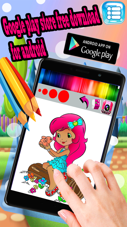Color Colorful Strawberry Girl Apple Pencil Apps Screenshot