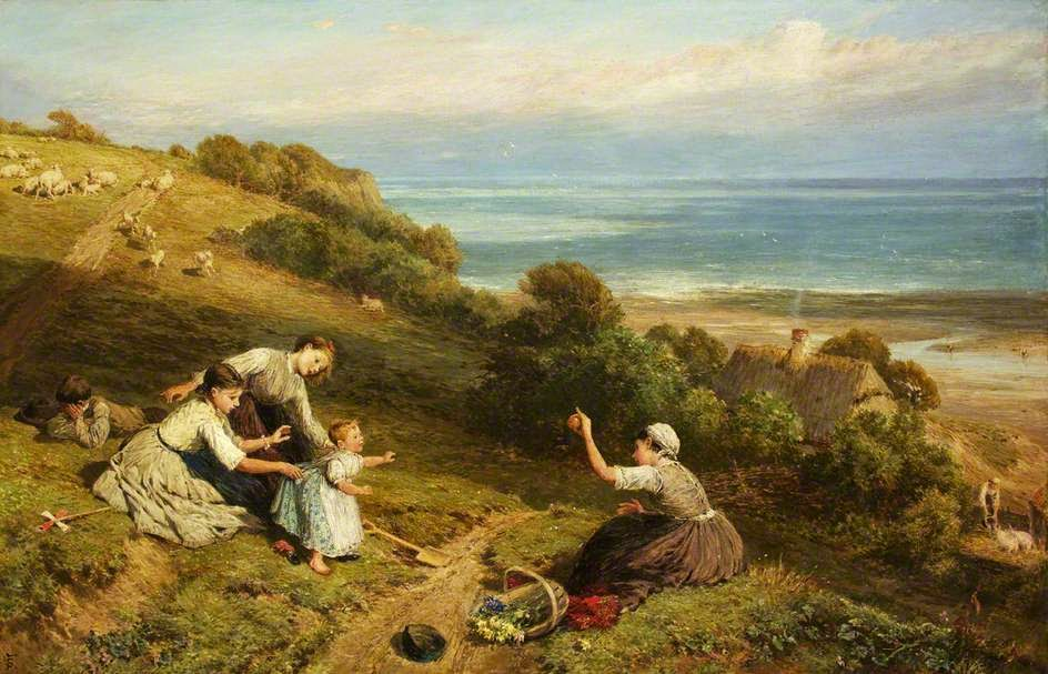 Myles Birket Foster - Landscape. The Girl with the Orange
