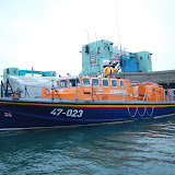 Poole's Tyne class lifeboat on its berth next to Poole Lifting Bridge, Poole Quay