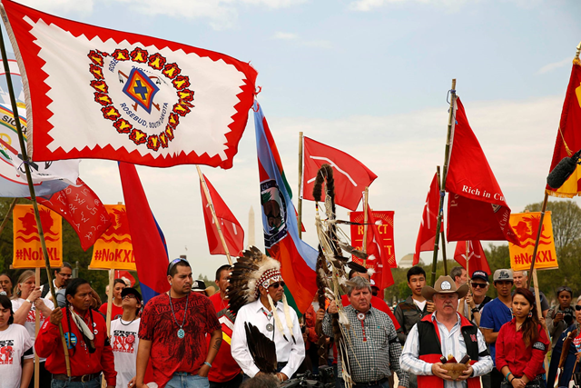 A protest against the Keystone XL pipeline in Washington, D.C. Photo: Gary Cameron / Reuters