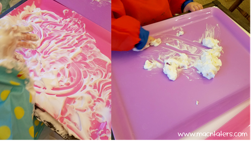 Shaving Cream and Whipped Cream Clouds Sensory Play