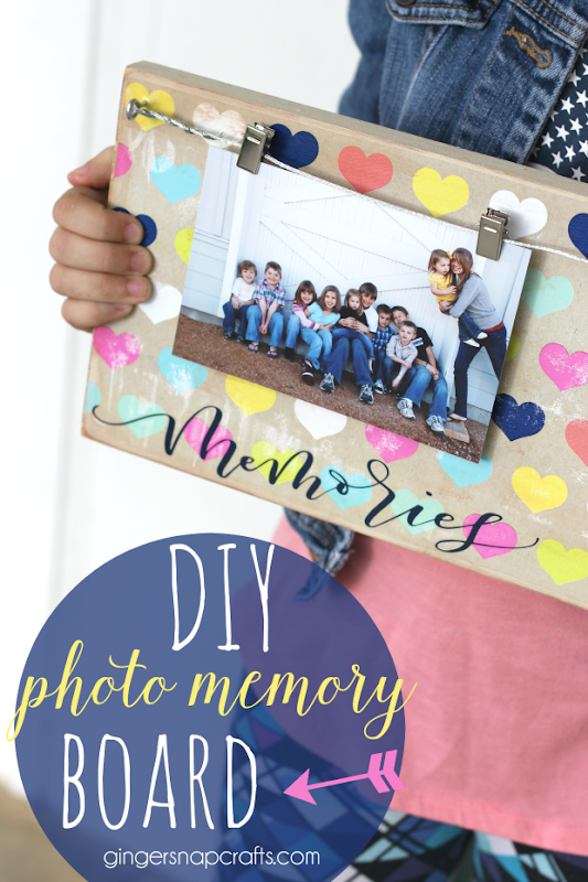 DIY Photo Memory Board at GingerSnapCrafts.com
