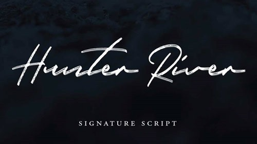 Hunter River, letra de firma manual de alta calidad.