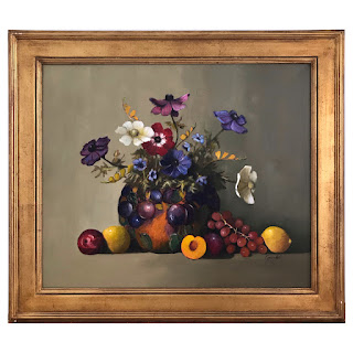 Peter Fraenkel 'Anemone Bouquet with Fruit' Still Life Oil Painting