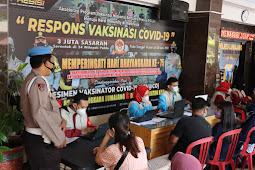 Hari Bhayangkara ke 75, Polres Lumajang Gelar Vaksinasi Covid-19 Secara Massal