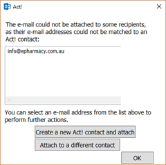 Outlook - Add new Act! contact when sending email