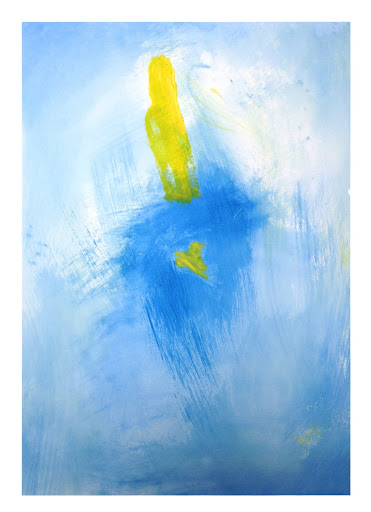 blue yellow 1 - 22x30 Acrylic on paper. Artist Manny Martins-Karman