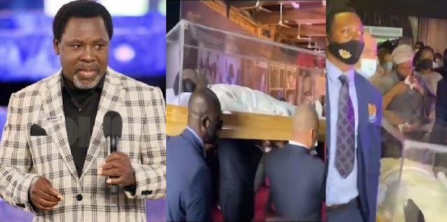 WATCH The Moment Pallbearers Arrived With TB Joshua's Body [Video]