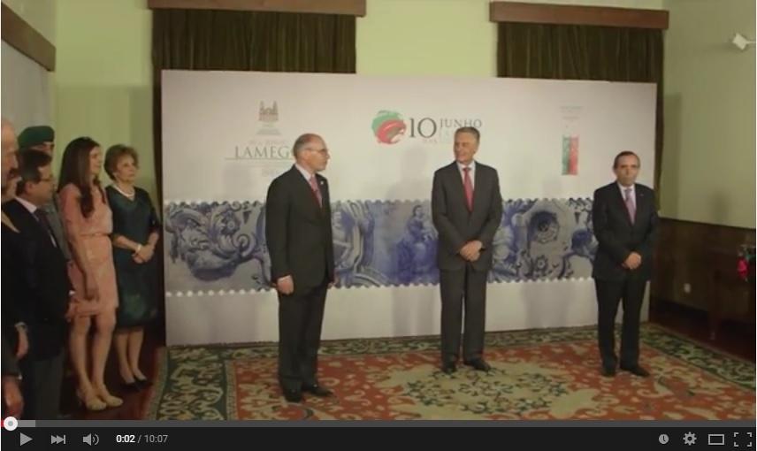 Vídeo - Presidente Cavaco Silva na cerimónia de Passagem do Testemunho de Cidade-Sede do Dia de Portugal, entre Guarda e Lamego
