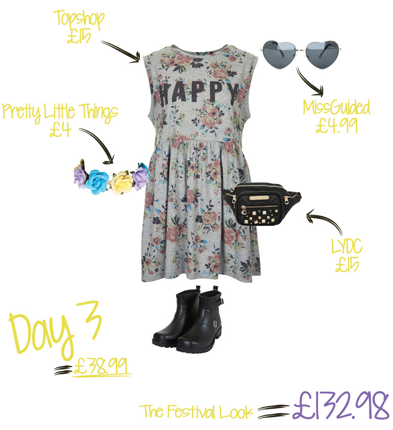 festival outfit flat lay from the high street