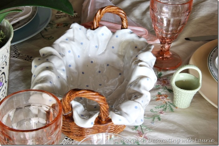 Ceramic Bread Basket with faux napkin-Bargain Decorating with Laurie